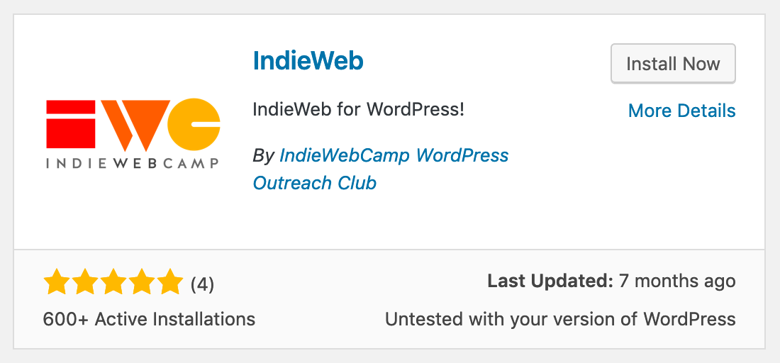 Indieweb for WordPress install screen