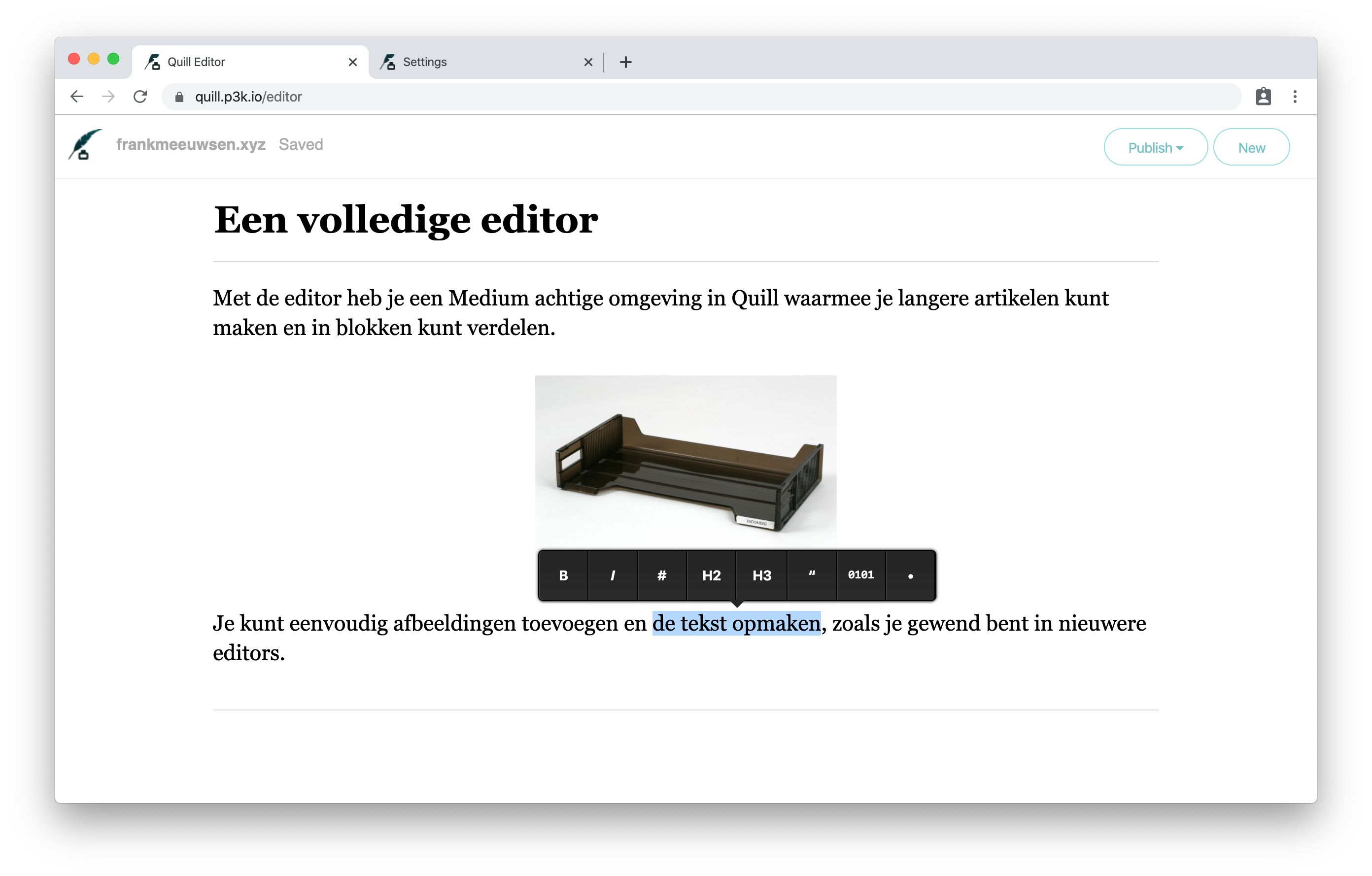 Quill volledige editor