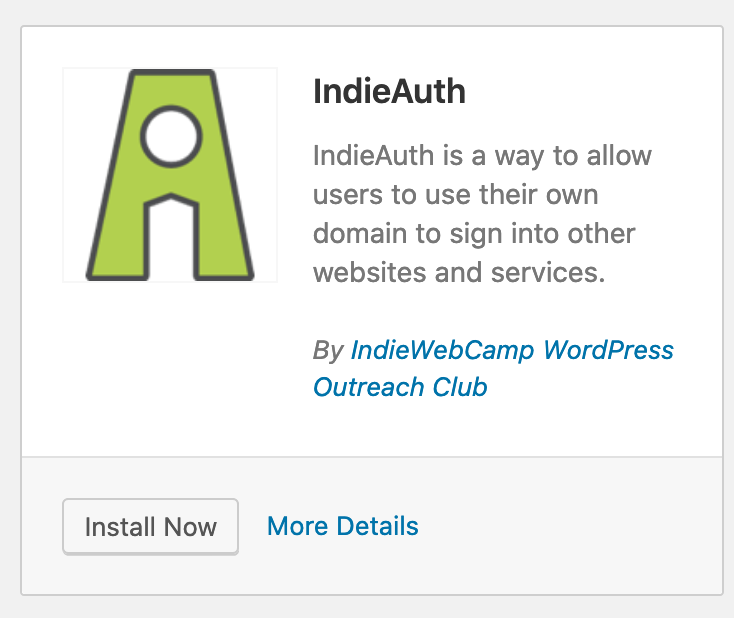 Screenshot van de IndieAuth plugin
